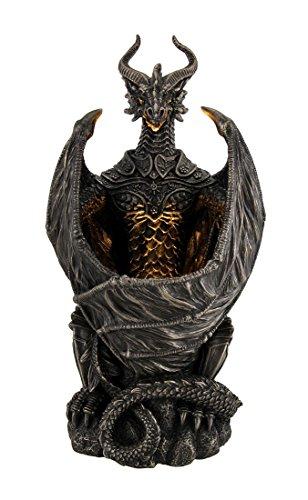 Nachttisch Gothic (Hüterin der Nacht Licht bewehrtes Dragon LED Leuchte Statue 25,4cm)