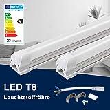 150CM LED Leuchtstoffröhre komplett-Set, Leuchtstofflampe mit G13-Fassung, 24W 4000K Naturweiß 2400 Lumen 48Watt-Ersatz, Deckenleuchte Unterbauleuchte Schranklicht, Montagefertig, Aufklebar, klar