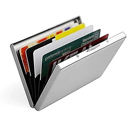 Vicloon Ultra Delgada Carteras de Aluminio Cartera de Acero Inoxidable Tarjetero de Crédito Durable con 6 Ranuras de PVC para Hombre y Mujer