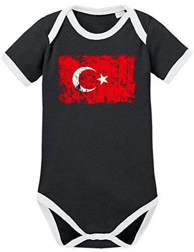 �rkei Vintage Flagge Fahne Kontrast Baby Body 74 Schwarz ()