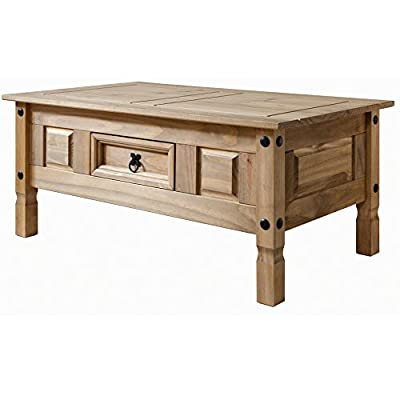 Corona Mexican Pine Coffee Table - Rustic Design with Drawer - cheap UK light shop.