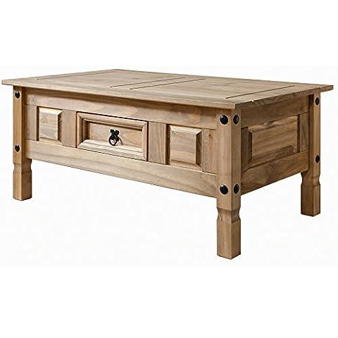 Table Bois Massif - Table basse Corona bois à 1 tiroir