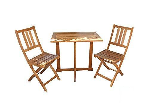 SAM 3-TLG. Balkongruppe Alessio, 1x Tisch 70x45 cm + 2X Klappstuhl, Balkon-Set aus Akazien-Holz, FSC...