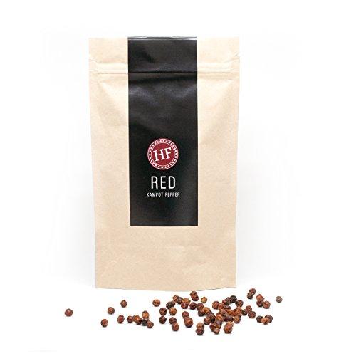 Echter-Roter-Kampot-Pfeffer, Beste Selektion (handverlesen), HENNES' FINEST, 80g im Aromabeutel, Von Kleinbauern fair und natürlich angebaut. Ganze-Pfefferkörner für die - Rote Pfefferkörner