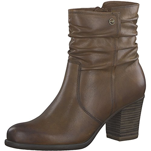 Tamaris Damen Stiefelette 25341-21,Frauen Stiefel,Boot,Halbstiefel,Damenstiefelette,Bootie,Reißverschluss,Blockabsatz 7cm,NUT,EU 39