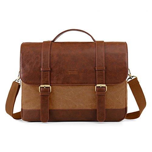 ECOSUSI Umhängetasche Herren Groß Laptoptasche für 15,6 Zoll Laptop Canvas Schultertasche mit Mehreren Taschen Braun
