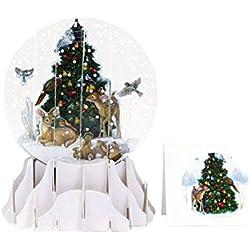 Pop Up 3d tarjeta de Navidad (bola de nieve, diseño de Tree Trimming Animals