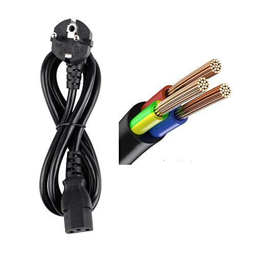 DTK 1,2M IEC320 C13 Cavo di Alimentazione Caricatori per Dispositivi Freddi Stampante, PC, Monitor, Televisione, Videoproiettore, PS3 / PS4 PRO, Attrezzatura per DJ,Cavo Nero IEC 3 Pin