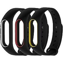 LuckWin Correa de Recambio para XIAOMI Wireless MI BAND 2 Brazalete Pulsera Inteligente Extensibles Coloridos Impermeables ( 3 Pack - Black/Yellow Black/White Black/Red )