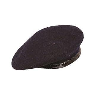 Mens Ladies Hat Army Beret Leather Trim Navy L