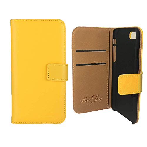 Echtleder Wallet Ständer Folio Schutzhülle mit Kartenschlitzen für Apple iPhone 4/4S, iPhone 5/5S, iPhone 6/6 Plus, iPhone 7/7 Plus, iPhone 5 C hohe Qualität, damen, gelb ()