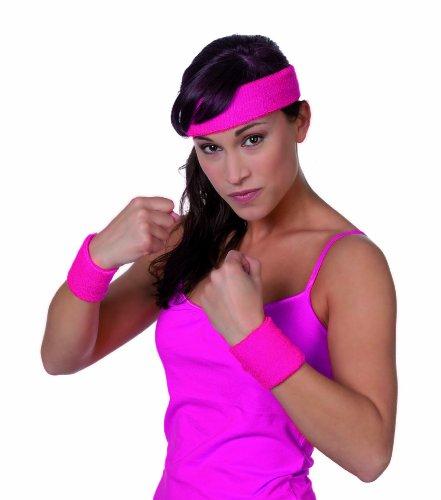 Kostüm Stirnband - 3 tlg. Set Schweißband, Arm und Kopf, Neon-Pink