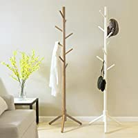 Blackpoolal 175CM wooden Coat Rack Stand 9 Hooks Clothes Stand Tree Stylish Wooden Hat Coat Rail Stand Rack Clothes Jacket Storage Hanger Organiser