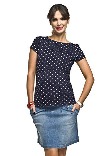 Torelle Damen 2in1 Umstandsshirt mit Stillfunktion, Modell: GAJA, Kurzarm, dunkelblau mit Herz, S
