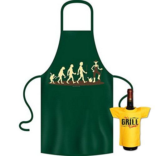 tolle bedrucke Grillschürze im Set + Mini T-Shirt Evolution Geburtstag Geschenk Grill Schürze Kochschürze Latzschürze Partyschürze Küche Goodman Design®
