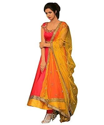1 Stop Fashion Women's Art Silk Semi Stitched Anarkali Suit (Pink)
