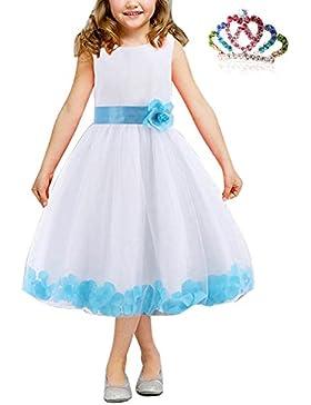 26cc4cf51384 CARINACOCO Bambine Vestito Principessa Abito Bordo Floreale Ragazze Fiore  Garza Abiti Tutu da Cerimonia Matrimonio.