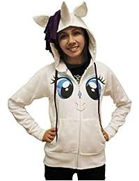 My Little Pony Rarity Gesicht weißes Kinderkostüm Hoodie mit Mähne und Horn