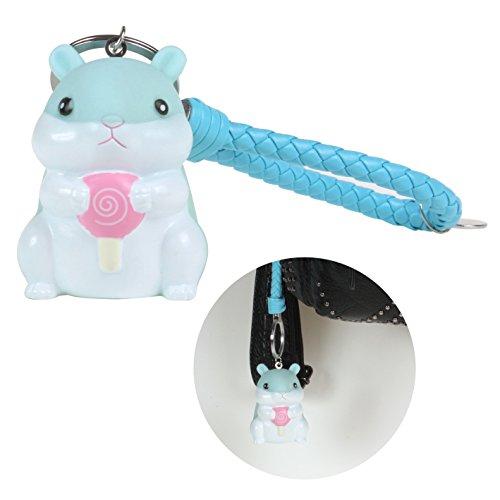 KOSBON Llavero de hámster lindo con cuerda de cuero, precioso colgante de bolsa de animales de hámster suave.(Blue Keychain)