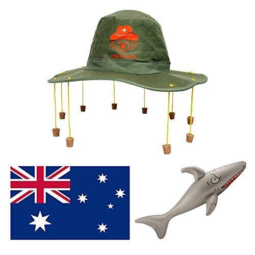 (AUSTRALIEN-TAG MODISCHES KOSTÜM-SET GROß AUSSIE FLAGGE + AUSTRALISCHER KORK HUT + AUFBLASBAR SHARK OZ KOSTÜM AUSSIE DUNDEE)