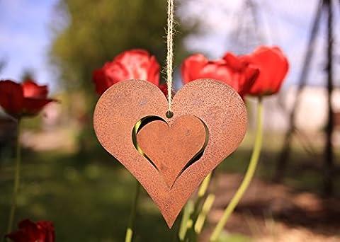 Romantisches Herz mit 3D-Effekt zum Aufhängen - 15cm: Wunderschöne Dekoidee mit Herz zu verwenden als Gartendekoration, Ihr Zuhause in Blumenkränzen oder als Fensterdeko - Dekoherz von Manufakt-Design