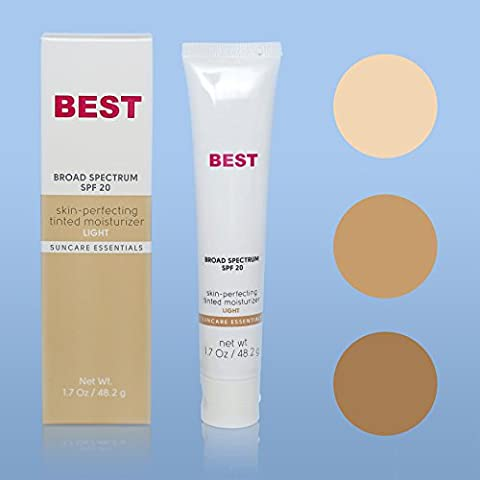 Best Tinted Moisturizer with SPF ~ Light Medium Dark or Blended Tint ~ Broad Spectrum SPF 20 Sunblock for Face ~ Non Comedogenic ~ Paraben Free and PABA Free ~ Moisturizer + Toner + UVA UVB Protection by M&M Beauty