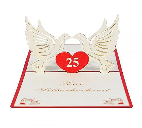 """3D KARTE """"Silberne Hochzeit"""" I Pop-Up Glückwunschkarte zum 25. Hochzeitsjubiläum I Grußkarte zur Silberhochzeit"""