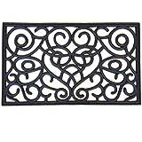 PROGOM - Paillasson Caoutchouc Noir Effet Ancien - 75 x 45 x 1.2 cm