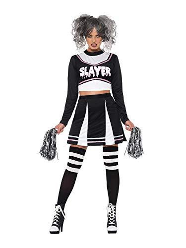 Smiffys 47572M Fever Gothic Cheerleader-Kostüm, Damen, Schwarz, M