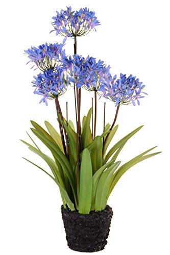 artplants Set 2 x Künstlicher Agapanthus INJALA im Erdballen, 6 Blüten, blau, 80 cm – Deko Schmucklilie/Kunstblumen