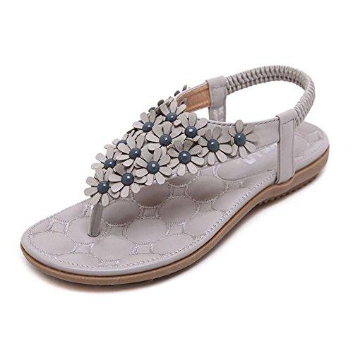 YOUJIA Damen Blumen Sandalen Strandschuh Böhmen Dianetten Zehentrenner Sommer Schuhe Grau