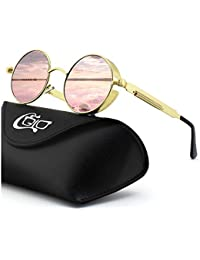 d256857258b78 CGID E72 Retro Steampunk Style Unisex Inspired Round Metal Circle Polarized  Sunglasses for Men and Women