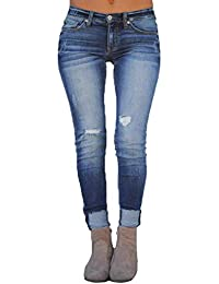 Pantaloni Strappati per Donna Moda Jeans A Vita Media Vintage Boyfriend  Skinny Stretch Pantaloni in Denim Casuale Leggings Jeans… 094ad17ece6