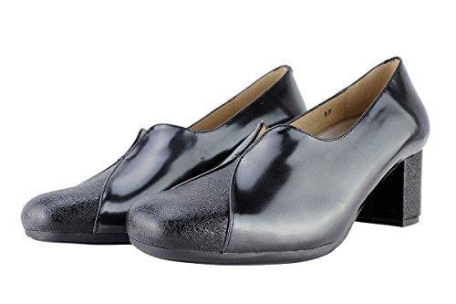 Scarpe donna comfort pelle PieSanto 175303 Décolleté larghezza speciale Negro (Black)
