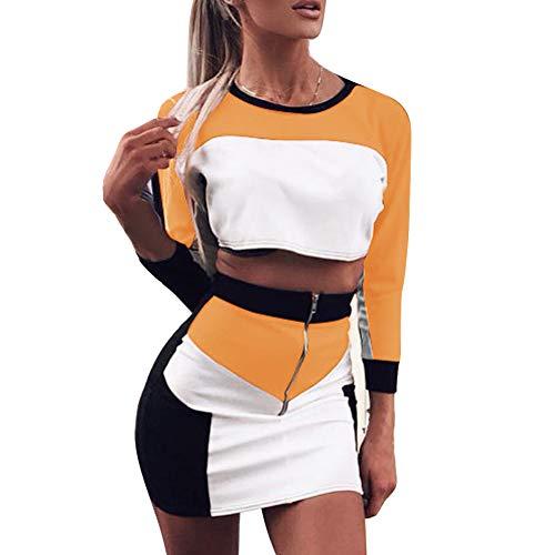 OEAK Damen Sommer Kontrastfarbe Sportanzug Langarm Kurz Pullover und Rock Set mit Reißverschluss Bauchfrei Tops Loose Fit Jogginganzug Outfit