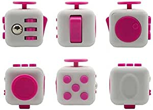 Fidget PVC Cube Stress and Anxiety Reliever (White and Pink)