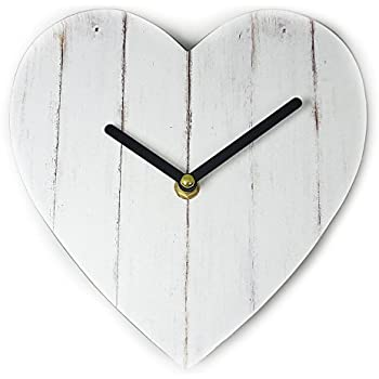 Just Contempo Heart Shaped Print Wall Clock, White