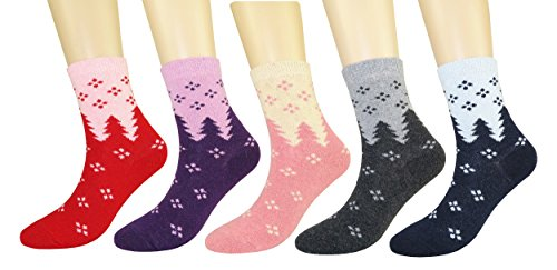 FULIER Womens Casual Thick Warm Winter Wool Crew Thermal Socks 5 Pack...