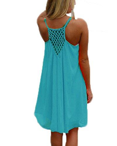 kenoce Damen Sommerkleid Badeanzug Strandkleid Chiffon Bikini Cover Up Boho Halter Ärmellos Lose Sommerkleid Blau XL (Sommer Kleid Hüte Für Frauen)