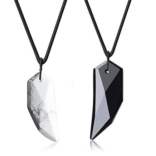 COAI Geschenkideen Glückskette Spitzer Anhänger aus Obsidian und Howlith Amulett Halskette für Partner