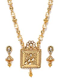 Jewels Galaxy Delicate Floral Square Design Kundan-Pearls Magnificent Gold Plated Necklace Set For Women/Girls