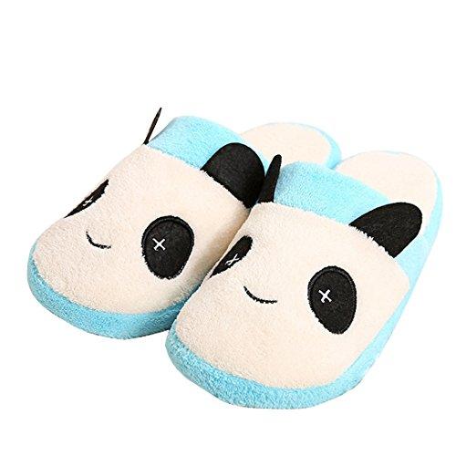 Union Tesco Baumwolle Hausschuhe,Hausschuhe Innenraum Slipper im Panda Design,Winter Wärme Plüsch Hausschuhe Blau