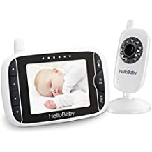 HelloBaby Baby Monitor Wireless con Fotocamera Digitale, Monitoraggio Della Temperatura Notturna e Sistema di Conversazione a 2 vie, Bianco