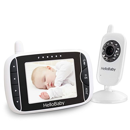 HelloBaby Wireless Video Baby Monitor mit Digitalkamera, Nachtsicht Temperaturüberwachung & 2 Way Talkback System, Weiß