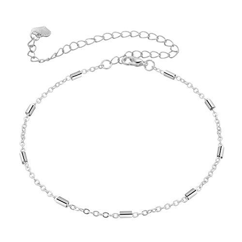 Bishilin Versilbert Damen Fußkette Rolokette Knöchelkette Boho Strand Ketten Silber