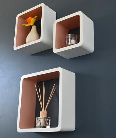 Lot de 3 étagères Lounge Cube style années 1970 (Blanc/marron café)