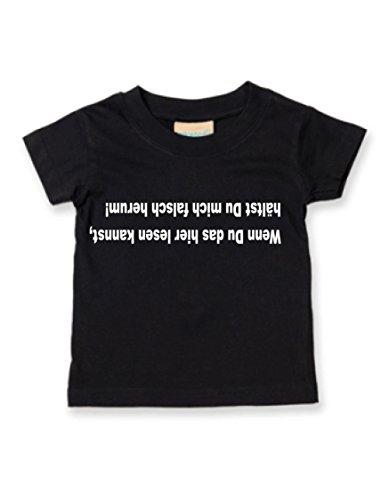 Schwarz Babyshirt (Wenn Du das hier lesen kannst, hälst Du mich falsch herum; BabyShirt; schwarz; Gr. 060/068; 0-6 Monate)