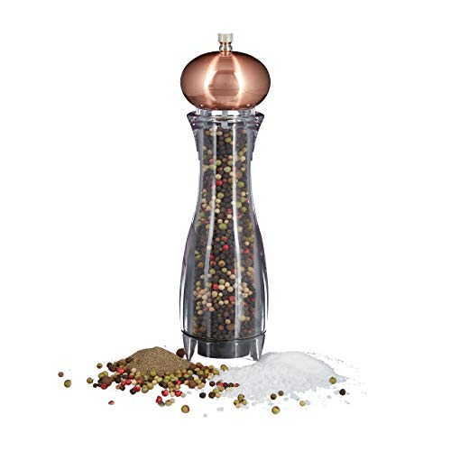 Relaxdays Pfeffermühle manuell, verstellbares Keramikmahlwerk, Gewürzmühle, HxBxT: 26,5 x 6,5 x 6,5 cm, bronze