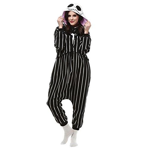 MissFox Adulte Animal Style Kigurumi Anime Pyjamas Onesie Cospaly Soirée de Déguisement Rayure Crâne XL