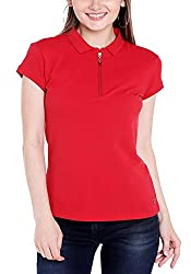 Spykar Womens Cotton Red Regular Fit Tshirts (Medium)